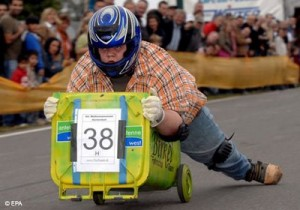 Germany Host the World Cup…Wheelie Bin Race